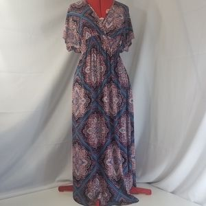EnFocus Studio V Neck Maxi Dress V Back Tie Neck